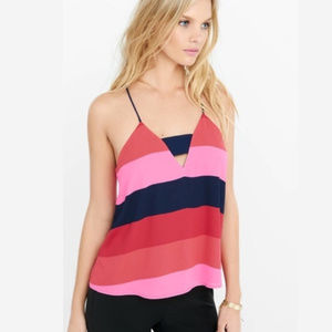 Express barcelona cami cut out stripe pink red S